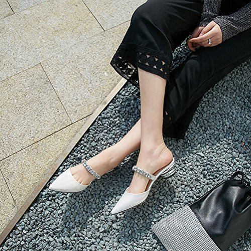 amp; B Rhinestone Chunky Leather Sandals Dress for Party Evening Summer Women's Heel Shoes Club Shoes PqnFA8