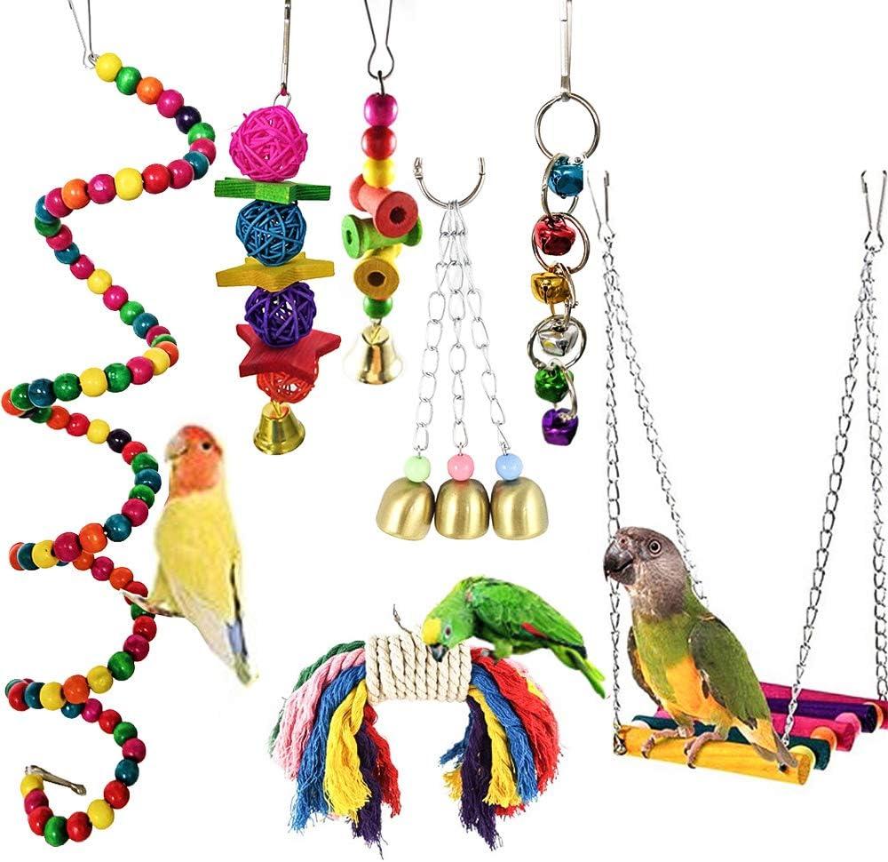 Lifreer juguetes para loros, 7 paquetes de juguetes para jaula de pájaros, columpio para colgar, perchas de masticar, escaleras de madera, juguete para conures, cacatúas, guacamayos, periquitos