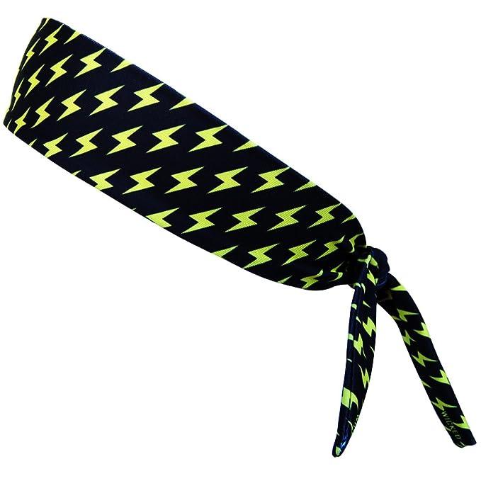 Lightning Bolts Yellow and Black Elastic Tie Headband  e3afc11e79c