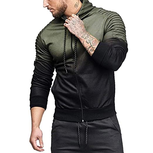 188752464cf97 Personality Mens Hoodie Luxury Long Sleeve Splicing Fold Hooded Tops Zipper  Outwear Tracksuits