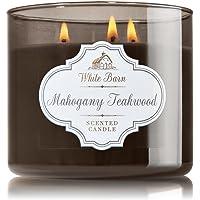 1 X Bath & Body Works White Barn Mahogany Teakwood Scented 3 Wick Candle 430ml/411 g