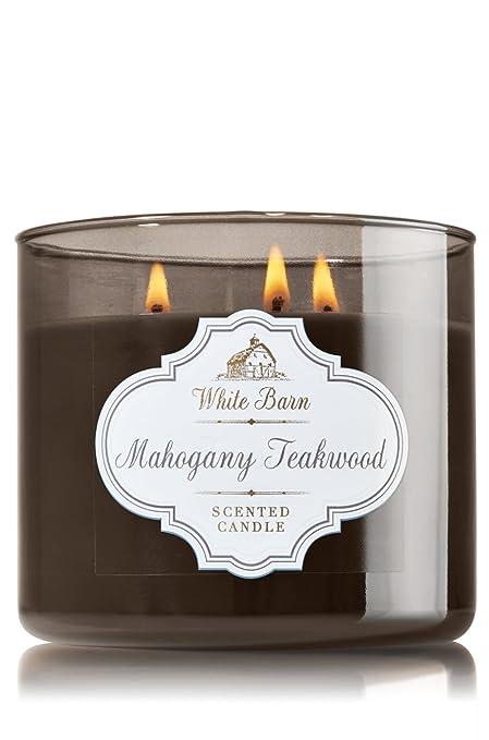 1 X Bath Body Works White Barn Mahogany Teakwood Scented 3 Wick Candle 14 5 Oz 411 G