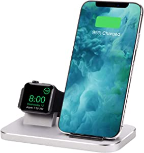 BNCHI 2 in 1 Aluminum Alloy Phone Wireless Charger Stand & Charging Station Compatible iWatch Holder Series 4/3/2/1/iPhone11/11pro/X/Xs/Xs MAX/8 Plus/8 (Silver)
