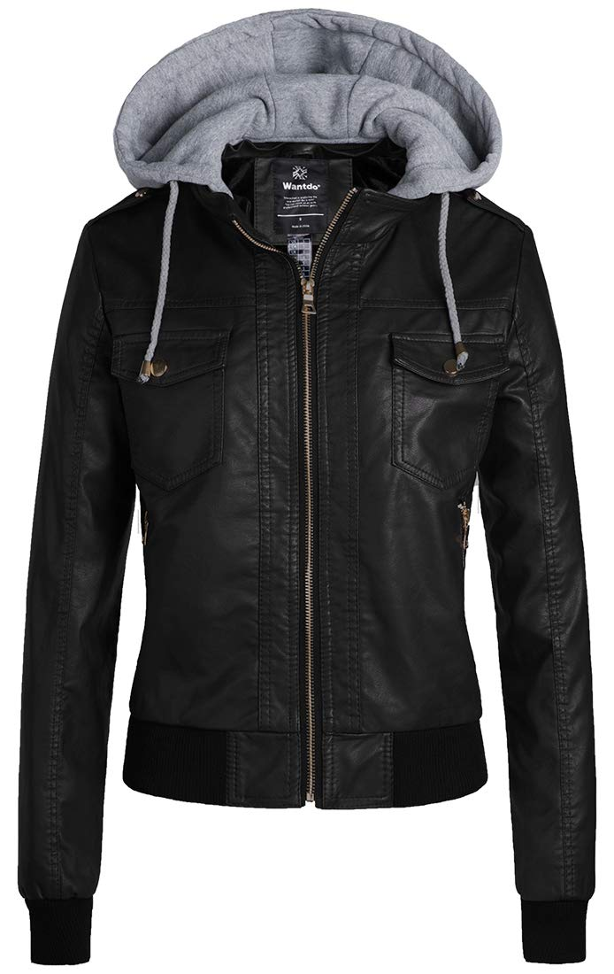 Wantdo Womens Faux Leather Jacket Short PU Jacket with Removable Hood Black L by Wantdo