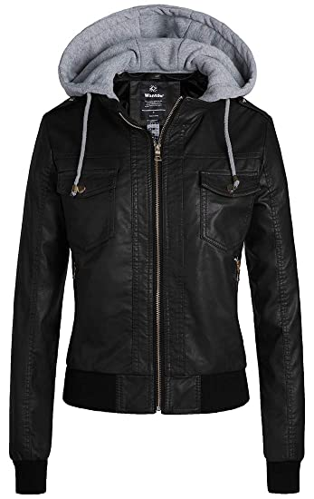 Wantdo Womens Faux Leather Jacket Slim Short Pu Motor Jacket With Removable Hood by Wantdo