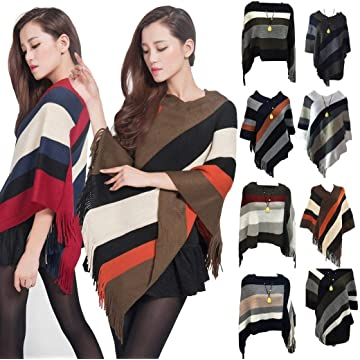 Pinsparkle Women's Elegant Knitted Shawl Poncho Fringed Striped Cape Pullovers
