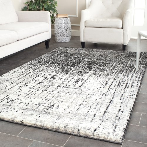 Safavieh Retro Collection RET2770 9079 Modern Abstract Black And Light Grey  Square Area Rug (8u0027 Square)