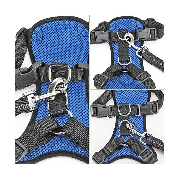 SlowTon Dog Car Harness Plus Connector Strap, Multifunction Adjustable Vest Harness Double Breathable Mesh Fabric with Car Vehicle Safety Seat Belt .(Dark Blue, Medium) 2