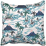 Throw Pillow Cover 18''X18'' Decorative Polyester Retro Hawaii With Mountain Sunset Palm Trees Boats Colorful Bright Artistic Tropic Pillowcase Print Two Sides Deco Home