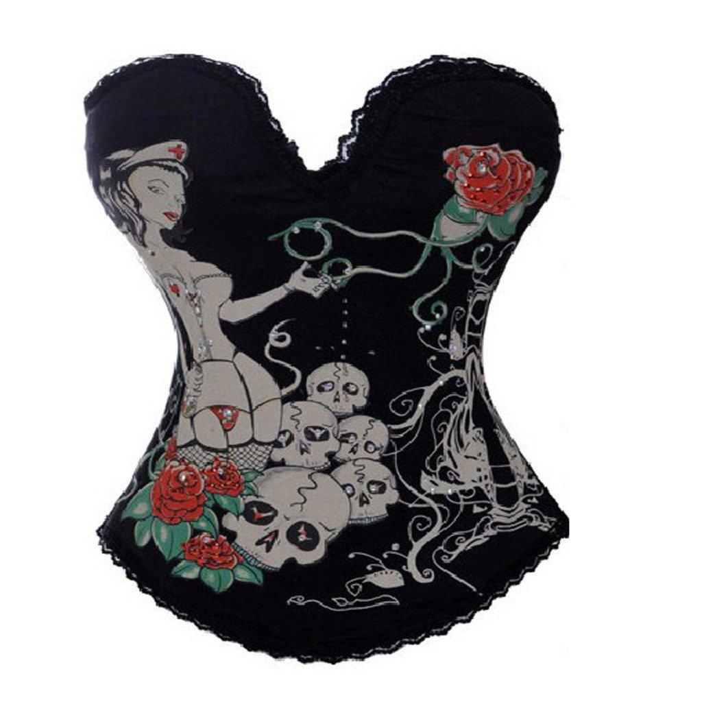 Cors/é Negro con Estampado Floral de Punk Rock g/ótico y Top Bustier