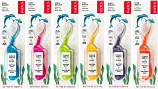 product image for RADIUS Kids Toothbrush, Right Hand - 6 Pack in Assorted Colors, BPA Free and ADA Accepted, Designed for Delicate Teeth and Gums, for Children 6 Years and Up