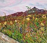Landscape Painting, large 4x4ft painting, acrylic painting, sunflowers, southwest, southwestern landscape, Arizona, Landscape, mountains