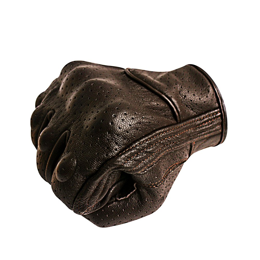 Men's Brown Motorcycle Gloves Full Finger Genuine Goatskin Leather Street Bike Gloves With Touchscreen Finger(Brown,Perforated,M)