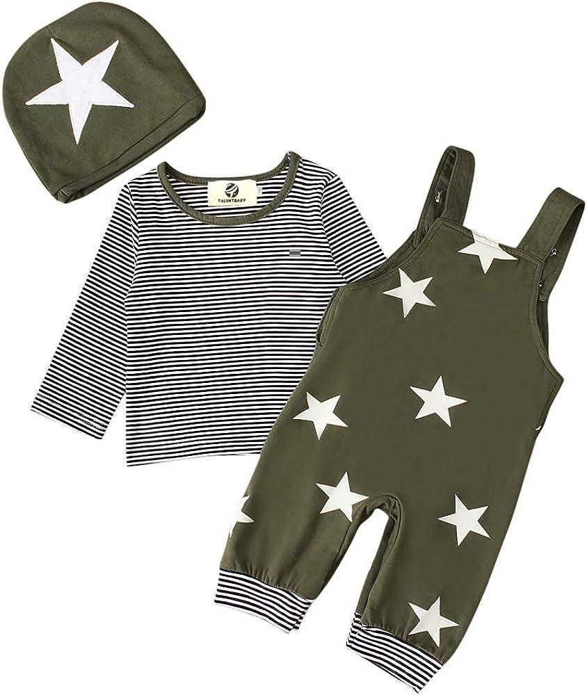 T TALENTBABY Pr/ämie Reine Baumwolle Set Kleidung Neugeborenes Baby Strampler Star Kleidung Sets Hosen Tops Hut Cute Jumpsuit Outfit Body