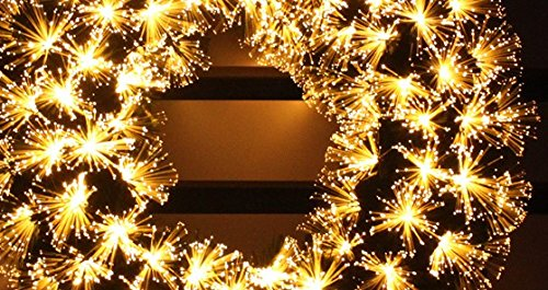 pre-lit white Color LED Fiber Optic Christmas Wreath (24in, warm white) by HOLIDAY STUFF (Image #3)