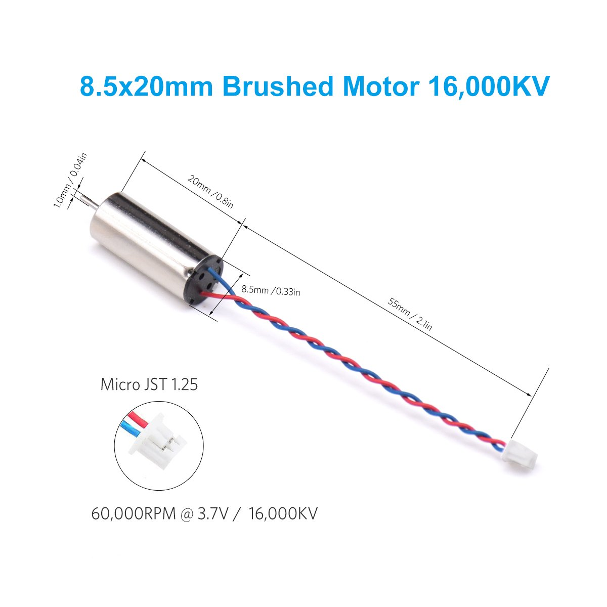 BETAFPV 4pcs 8.5/×20mm Motor 16000KV Brushed Motors 2CW 2CCW with JST-1.25 Connector for Micro Whoop Beta85 Frame