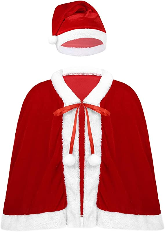 inhzoy Disfraz de Santa Navidad para Niña Capa Roja Papá Noel Mamá ...