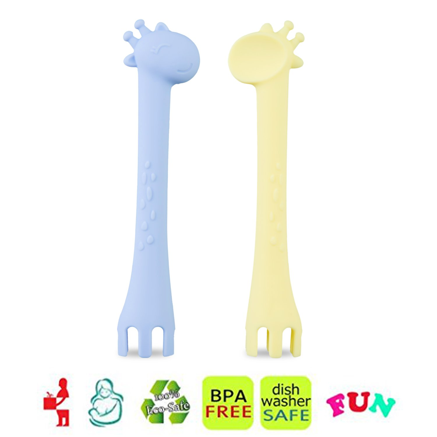 Kitdine Baby Spoons Silicone Giraffe Spoon BPA Free for Baby Feeding and Infant Weaning Teething Toys Training Forks Spoons Set of Two (Blue&Yellow)