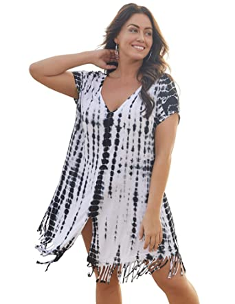 446eff1a2d8cb Swimsuits for All Women's Plus Size White Tie Dye Shibori Boho Tunic Swimsuit  Cover Up at Amazon Women's Clothing store: