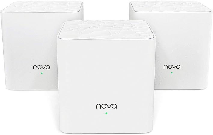 Tenda NOVA MW3 Mesh Router Sistema WiFi de Red en Malla (AC1200, 2.4GHz +5 GHz,Plug and Play, Mu-MIMO,Fast Ethernet 10/100,Funciona con Alexa ...
