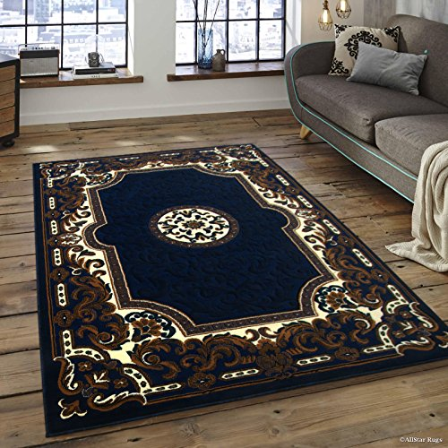Allstar 5x7 Navy Blue and Ivory Classic French Country Machine Carved Effect Rectangular Accent Rug with Beige and Brown Bordered Medallion Design(5' 2