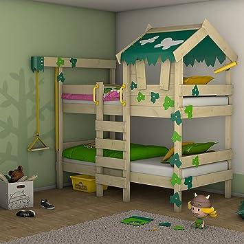 WICKEY Litera CrAzY Ivy Cama para jugar para 2 niños Cama alta con techo, escalara para trepar y somier de madera, verde-verde manzana: Amazon.es: Bricolaje y herramientas