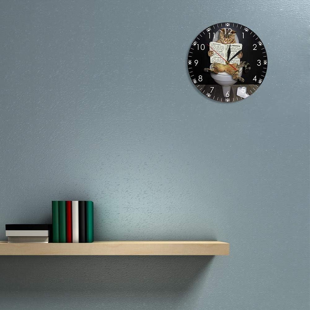 Horloges murales pour salon chaton chat sur la toilette avec le journal silencieux dr/ôle salle de bain mur art d/écoratif montre de mur cadeau pour les propri/étaires de chat acrylique 12 pouces