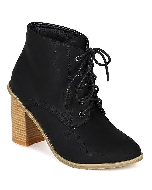 BI95 Women Leatherette Almond Toe Oxford Faux Wood Chuky Heel Ankle Bootie