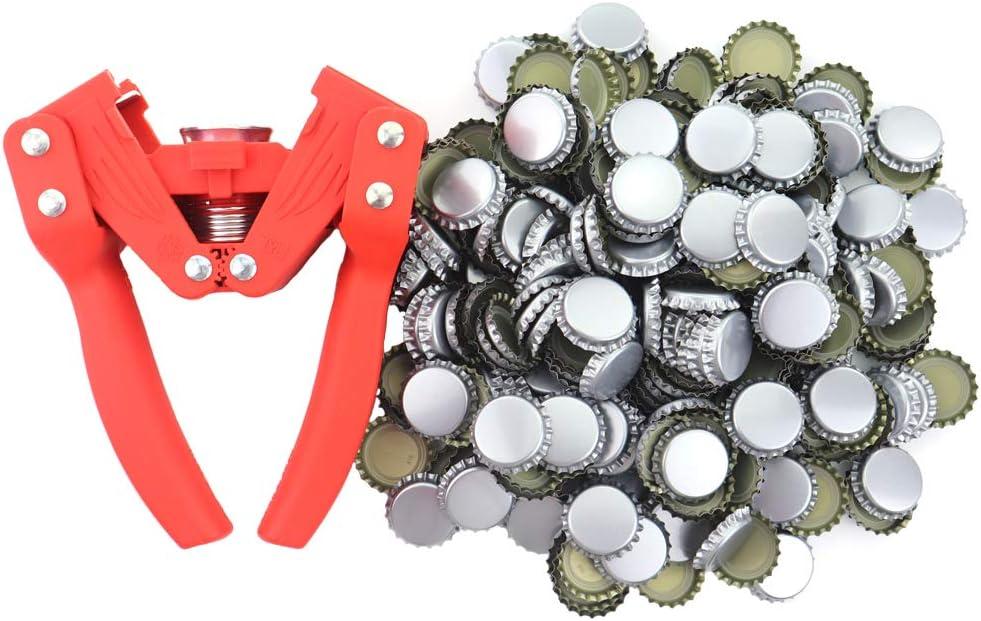 Tap/ón para botella con 300 tapas para hacer cerveza o botellas de cristal de limonada f/ácil de tapar