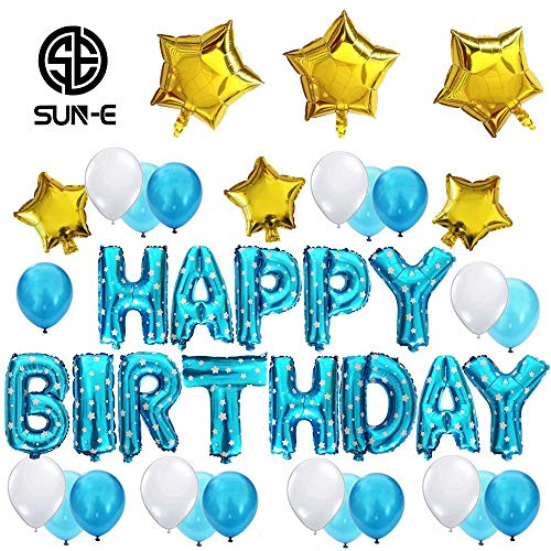 SUN-E Happy Birthday Balloons Party Decorations Kit Alphabet Letters Perfect Party Decoration Supplies Balloon Banner Total 40PCS in Set (Blue)