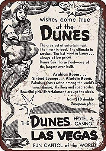 (FDerks Dunes Hotel & Casino Las Vegas Retro Vintage Custom Metal Tin Sign Home House Coffee Beer Drink Bar 8 x 12 Inches)