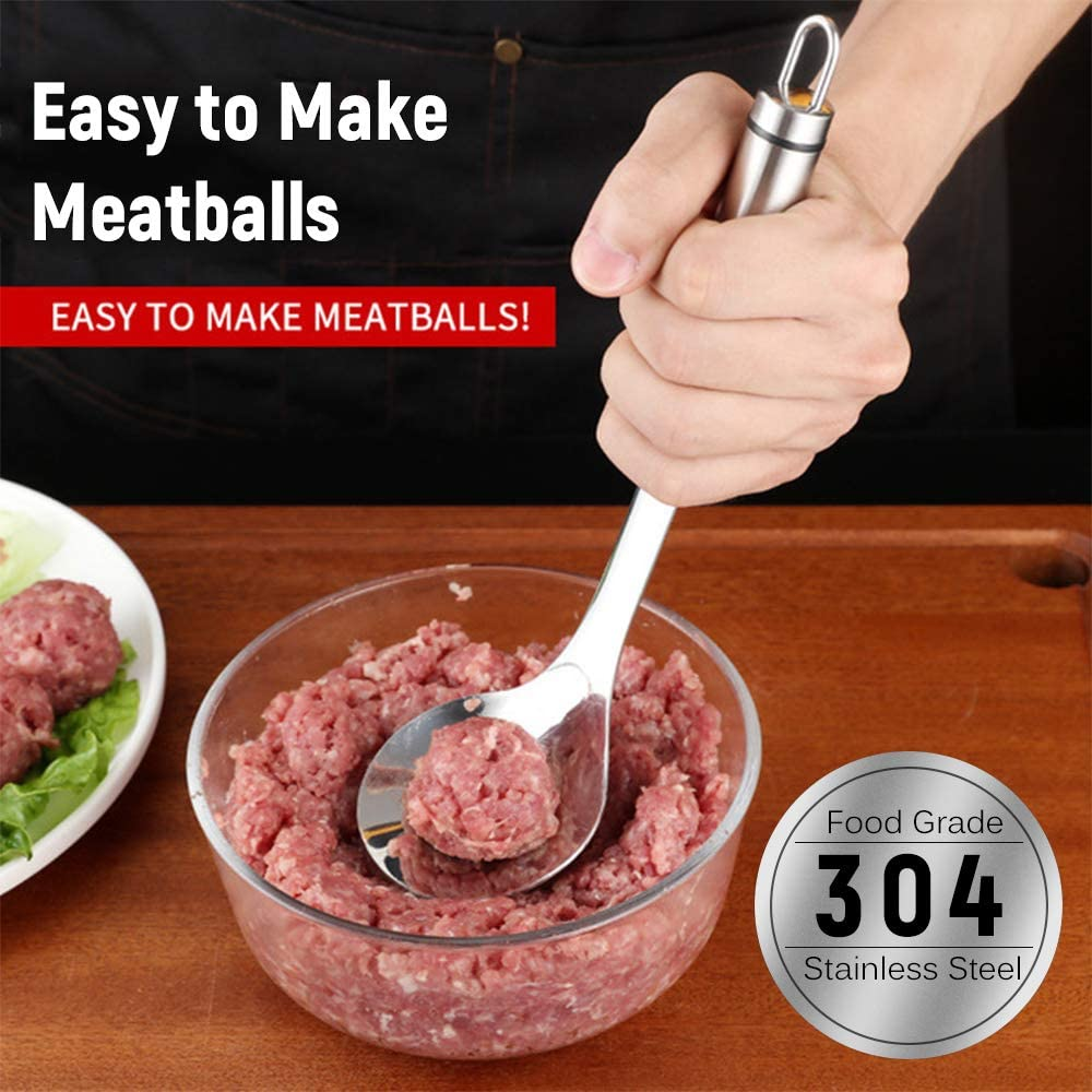 Negaor Meatball Spoon Stainless Steel Meatball Maker Non-Stick Meat Baller Scoop with Long Handle DIY Meat Ball Tool for Dining Bar Kitchen Silver