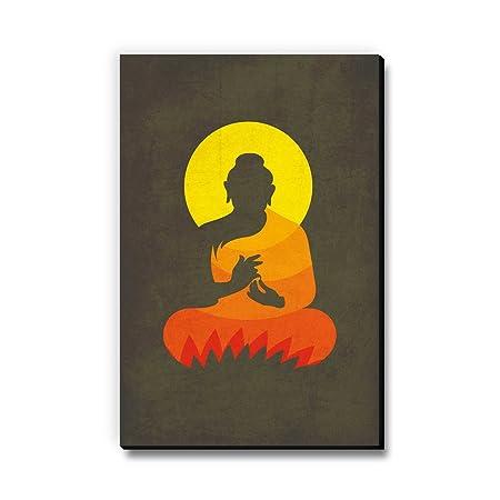 Seven Rays Buddha on Lotus Silhouette Fridge Magnet  3 X 4.5 Inch, Multicolour, MDF  Magnets