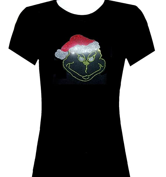 d81e94601e454 Image Unavailable. Image not available for. Color: Toovee Women's Black  Generic Cotton Rhinestone Christmas Grinch T Shirt