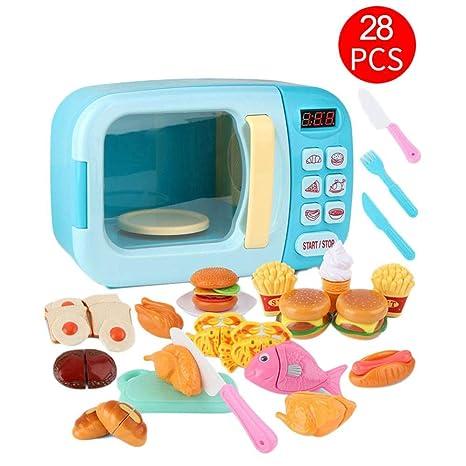 Sunronal Juego de juego de microondas para cocina de juguete para niños, juego de simulación de sincronización eléctrica Juego de cocina Juego de ...
