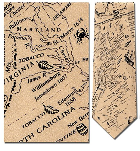 Mens 100% Silk The 13 Original Colonies Map Tie Necktie - History Of The Necktie