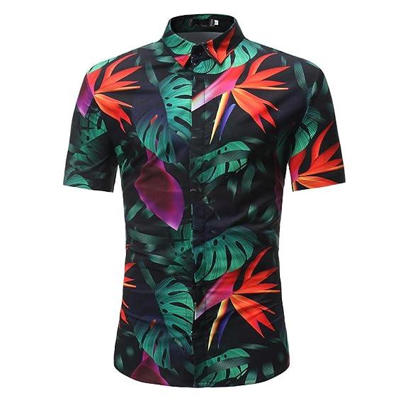 QinMM Camisa Estampada Hoja Verano del Hombre, Blusa Delgada Casual de Manga Corta