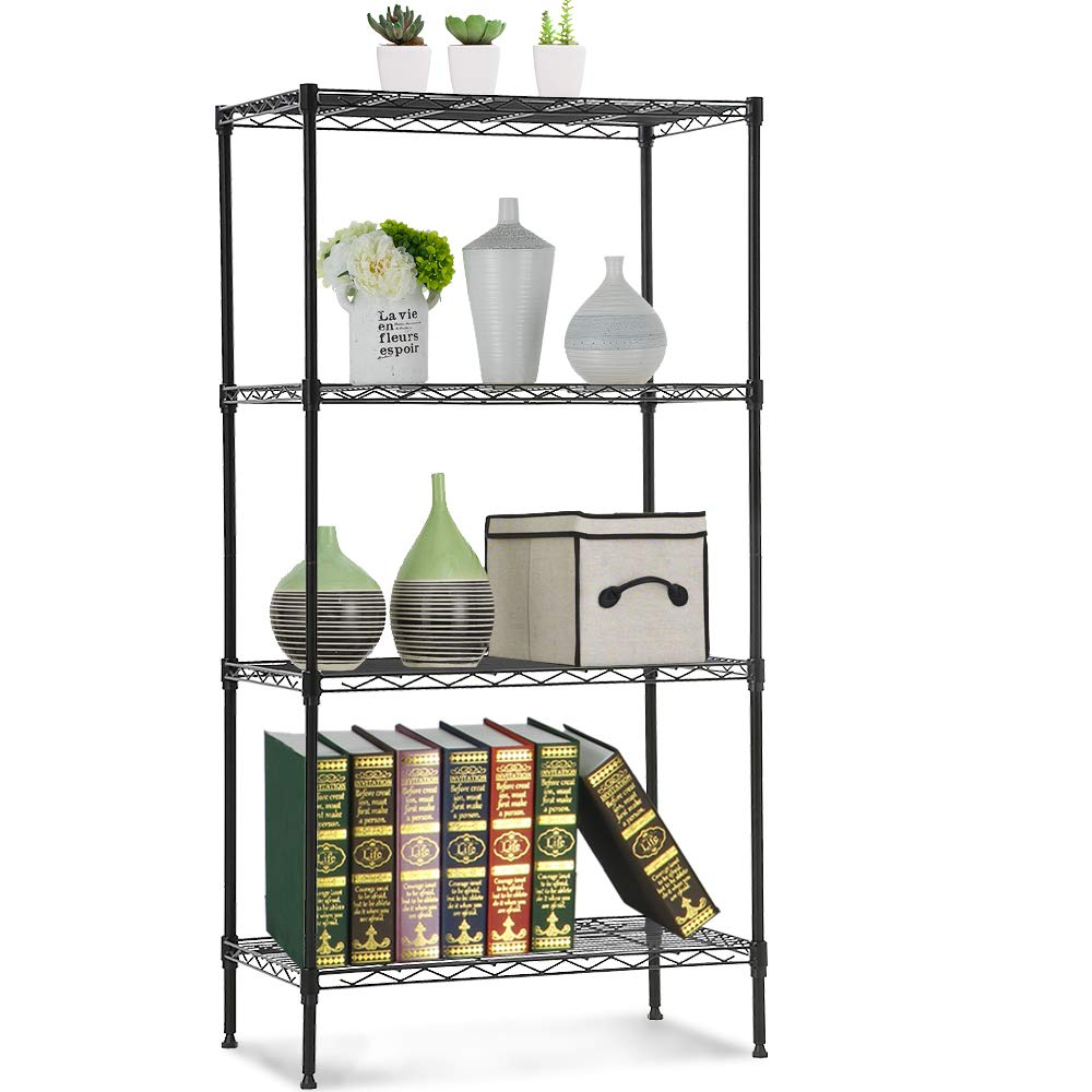 NSF Wire Shelving Unit 4-Tier Layer Shelf Steel Commercial Grade Storage Shelves 24''x14''x47'' Large Heavy Duty Metal Shelves Organizer Rack with Leveling Feet for Kitchen Bathroom Office Garage (Black)