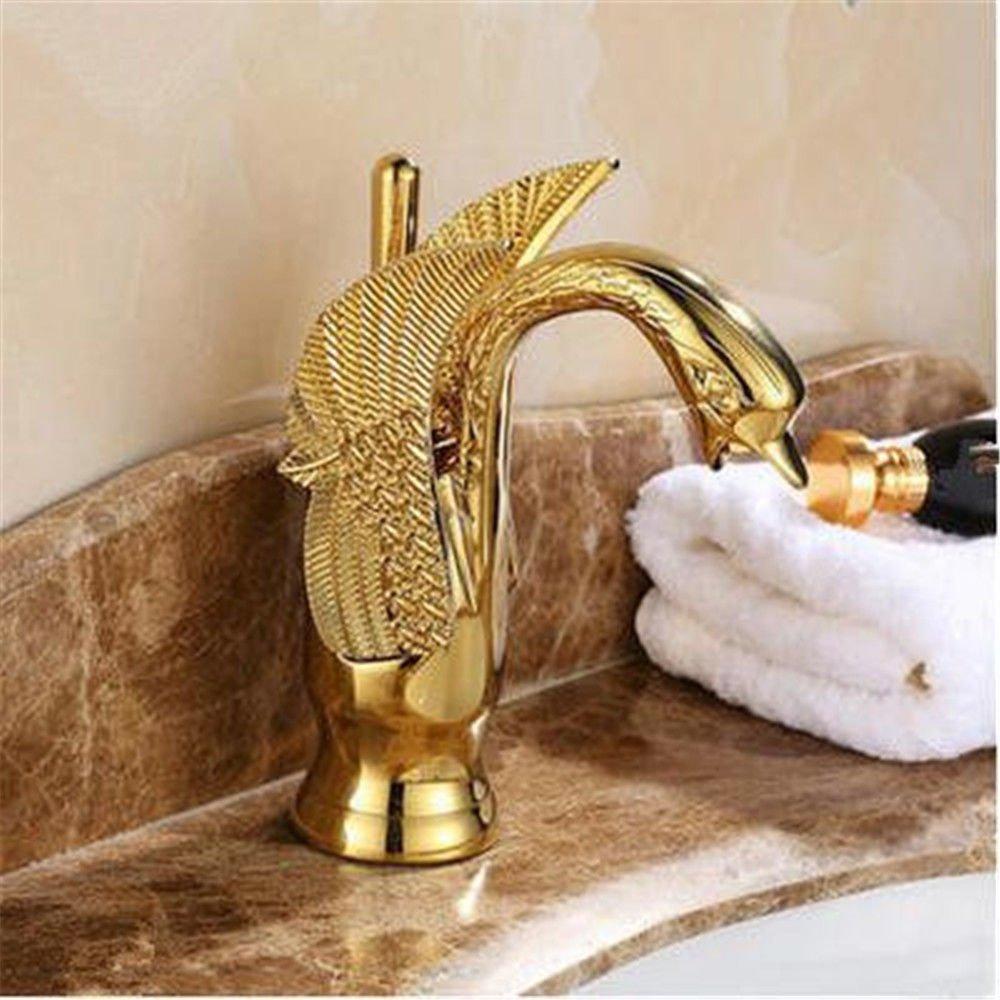 MMYNL TAPS MMYNL Waschtischarmatur Bad Mischbatterie Badarmatur Waschbecken Antike Antike Swan kaltes Wasser Retro-Copper Gold Tapsd Badezimmer Waschtischmischer