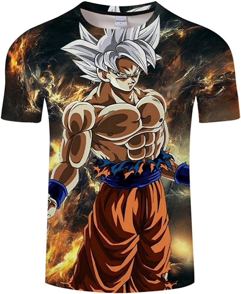 Camisetas, Dragon Ball Z Cartoon Hombre/Mujer Manga Corta 3D Impresión Cuello Redondo Camiseta Suave Unisex Caqui 3XL: Amazon.es: Ropa y accesorios