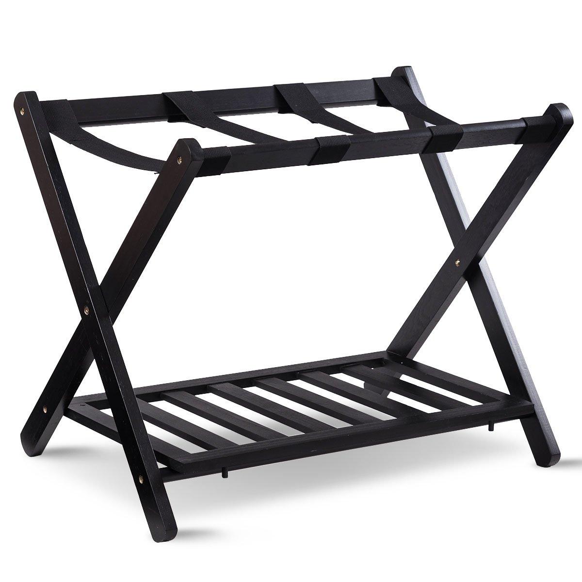 TANGKULA Luggage Rack Wood Folding Suitcase Stand Hamper Laundry Cloth Bag Shelf (001 1PC)