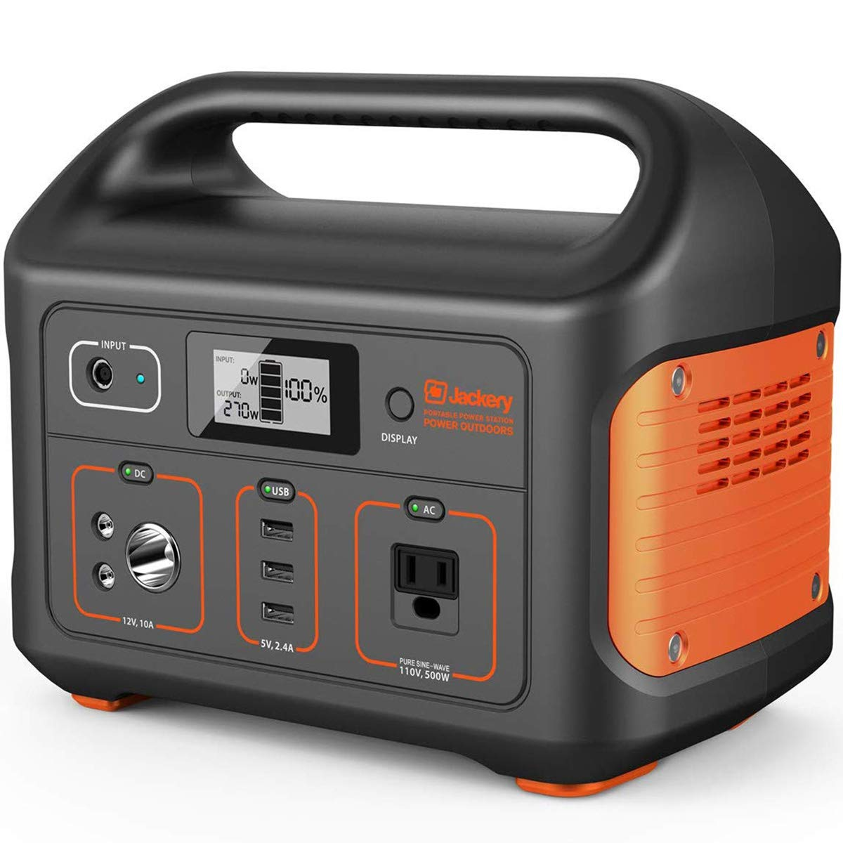 Jackery Portable Power Station Explorer 500, 518Wh Outdoor Solar Generator Mobile Lithium Battery Pack with 110V 500W AC Outlet Solar Panel Optional for Road Trip Camping, Outdoor Adventure