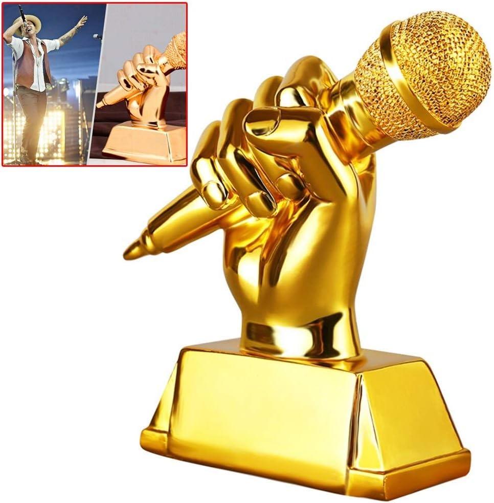 Trofeos Trophy Micrófono de Oro - Pequeño Resina Canto Karaoke concesión campeón de la Etapa de acogida, concursos de Canto, Las Partes (Color : Gold, Size : 20 * 8 * 16cm)