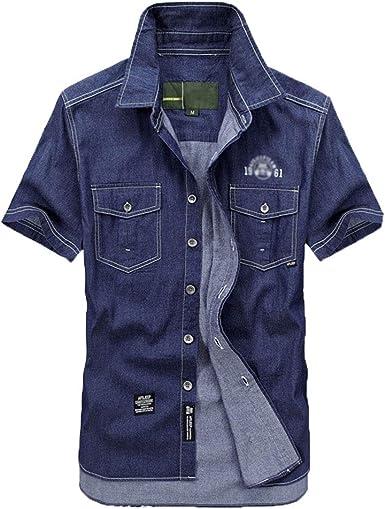 Blusa Hombres Camisa Vaquera de Manga Corta Suelto Color Sólido con Botones: Amazon.es: Ropa y accesorios