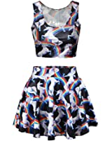 Jiayiqi Frauen Digital Drucken Reversible Ernte Pullunder Gefaltete Skater Röcke Anzug
