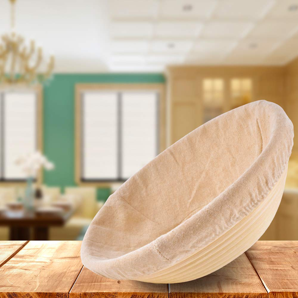 Haneye Proofing Rattan basket, 10 inch banneton Dough Bread Brotform Basket Sourdough Proofing Round shape Basket with removable lining for Home Bakers, 2 pack by Haneye (Image #2)