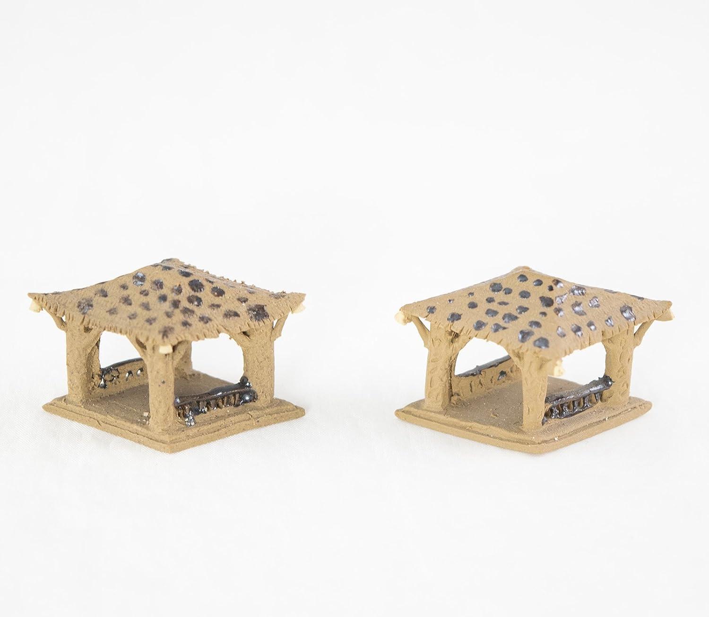 2 Vintage Mini Pavilion Figurine for Bonsai Tree, Zen Gasden & Fairy Garden