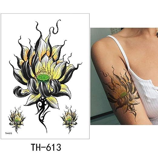 adgkitb 3pcs Flor Etiqueta engomada del Tatuaje Temporal Falso ...