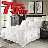 Luxury Lightweight Down Comforter Solid White - Corner Duvet Tabs - Hypoallergenic Duvet Insert- 230 Thread Count 600FP 100% Cotton Shell Down Proof-Box Stiched(Full/Queen)-by Downluxe