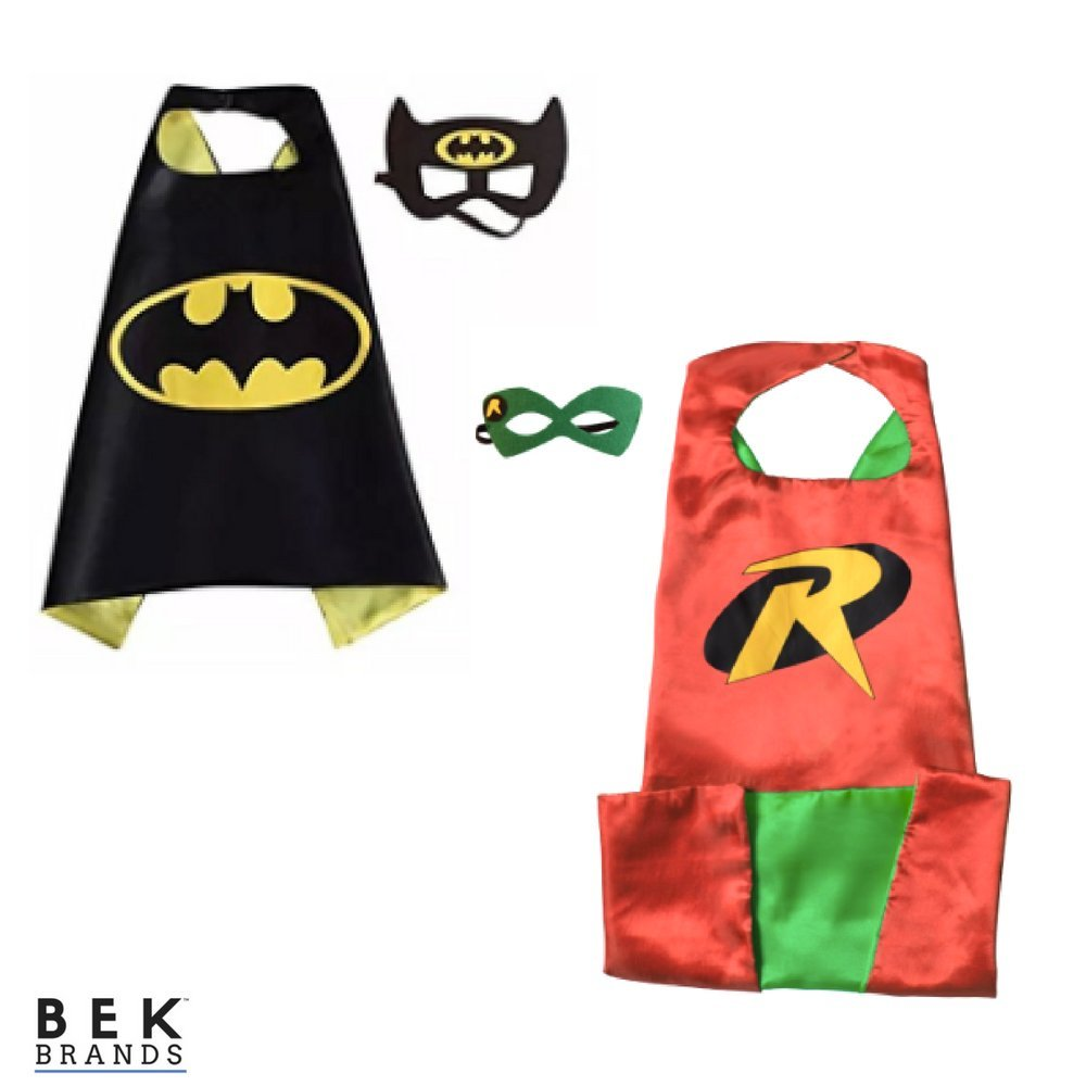Bek Brands Batman and Robin Superhero Cape and Mask Set | Dress up Satin Cape and Felt Mask, Costume for Kids Party